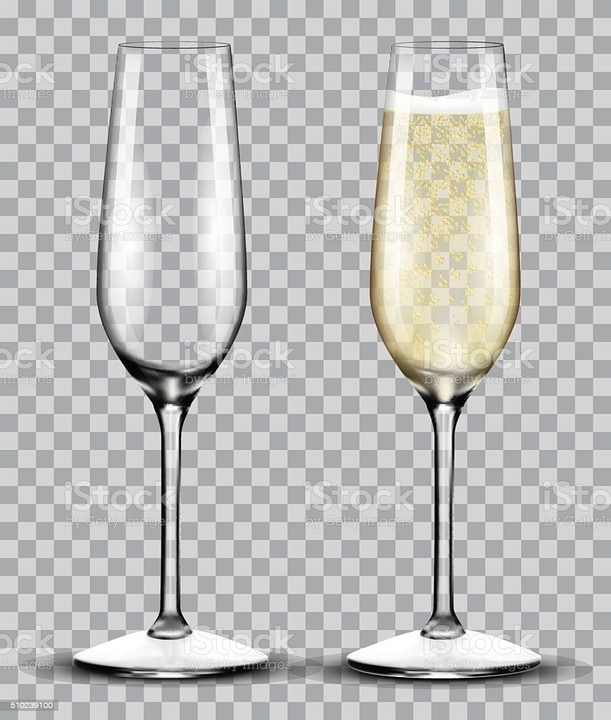 full and empty glass of champagne vector art illustration