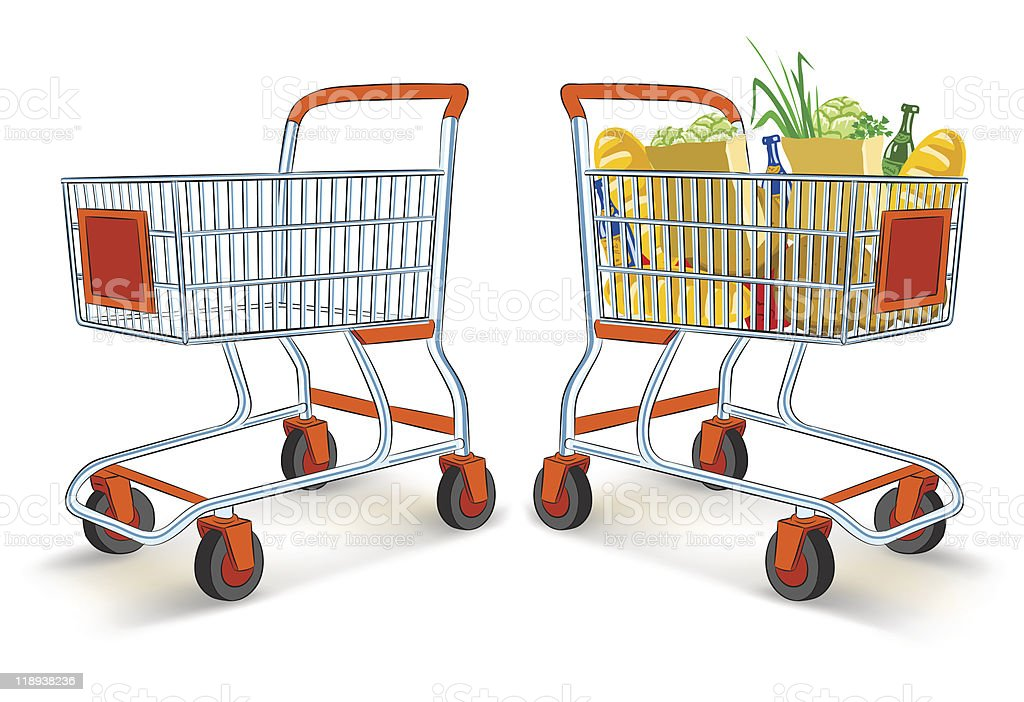 full and empty shopping carts from supermarket store royalty-free stock vector art