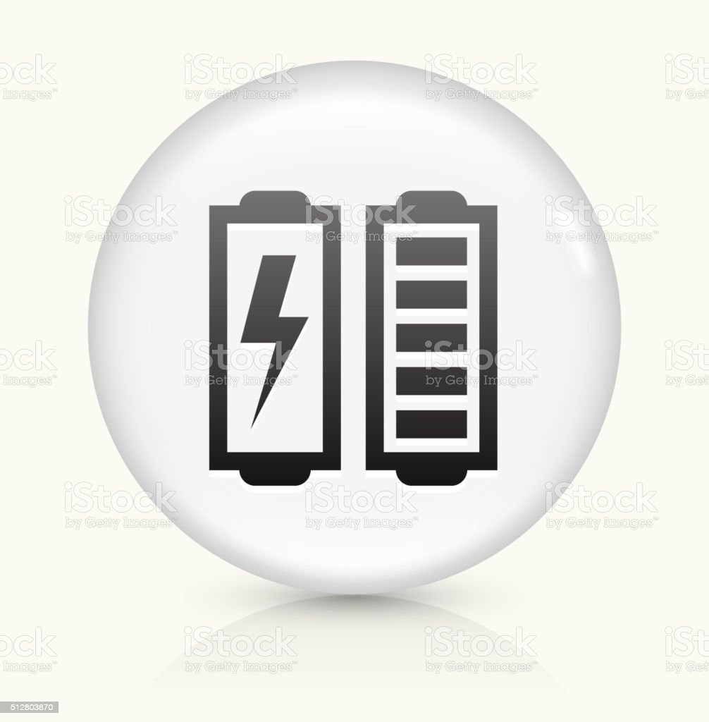 Full Battery icon on white round vector button vector art illustration