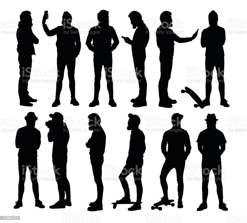 Full body standing hipster silhouettes in different situations. vector art illustration