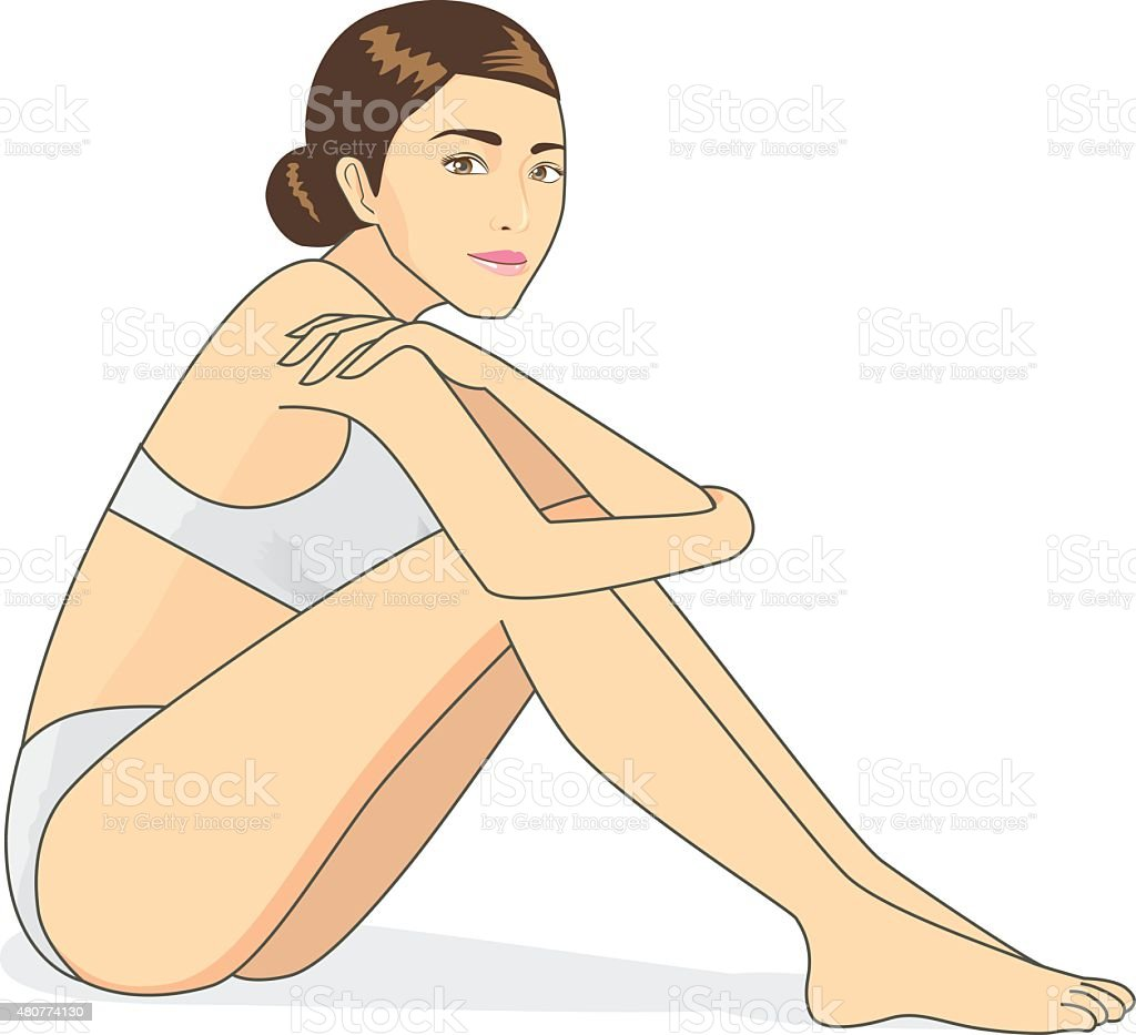 Full body woman cartoon sitting vector art illustration