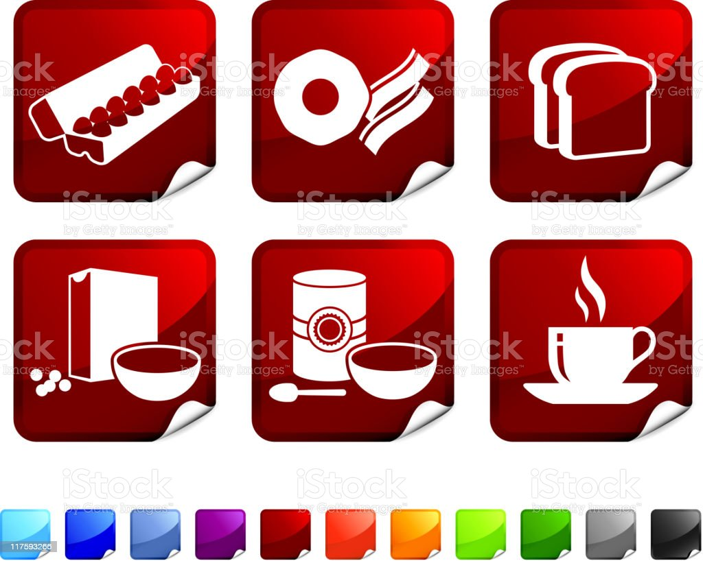 full breakfast royalty free vector icon set stickers royalty-free stock vector art