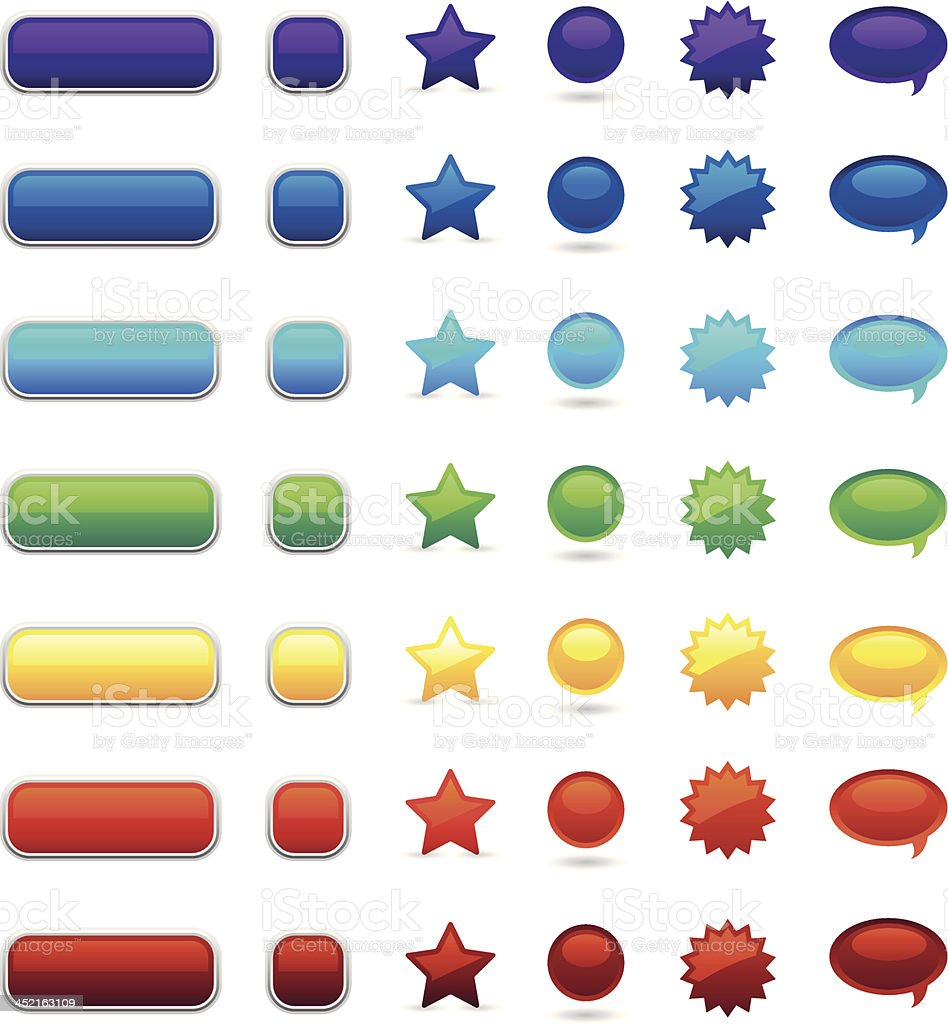 full color user interface buttons vector art illustration