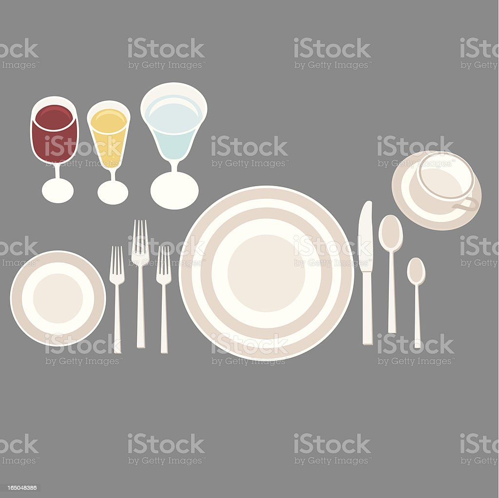 full etiquette placesetting royalty-free stock vector art