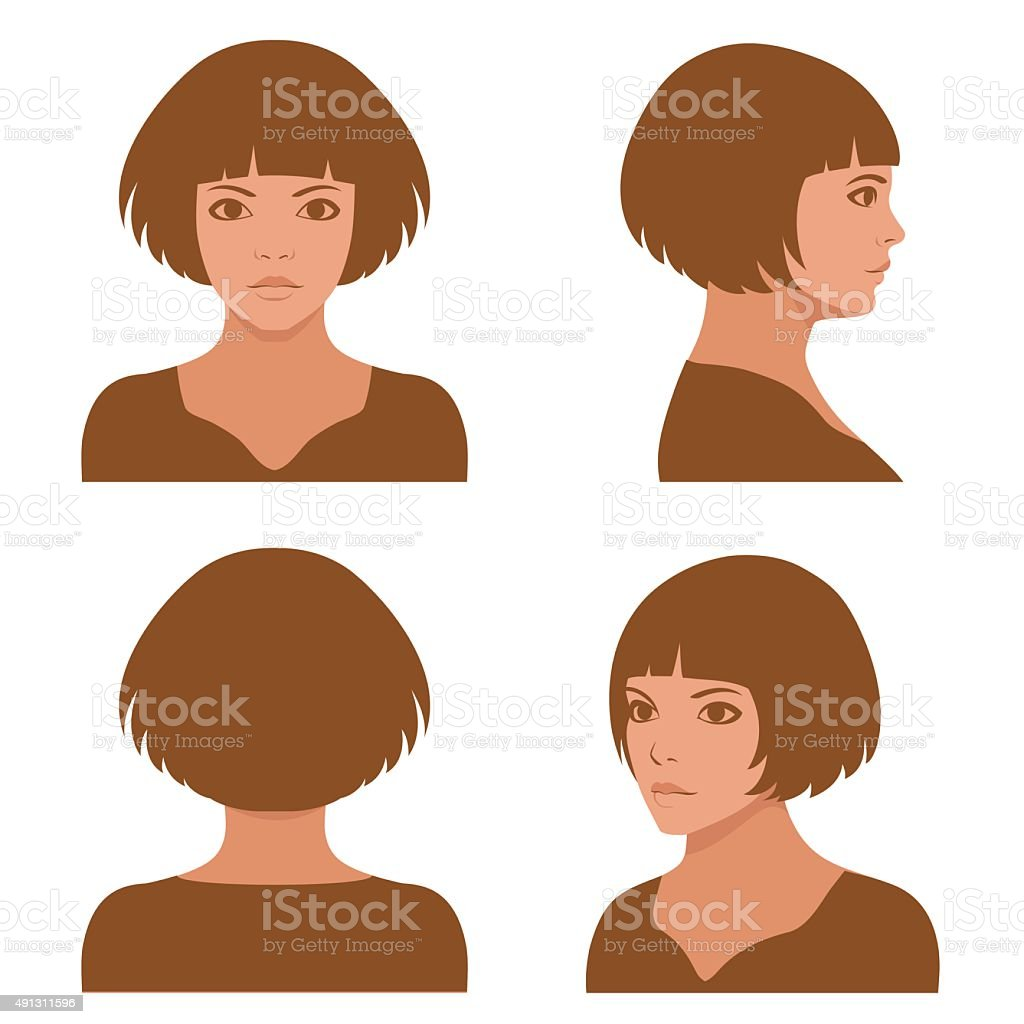 full face and profile head character vector art illustration