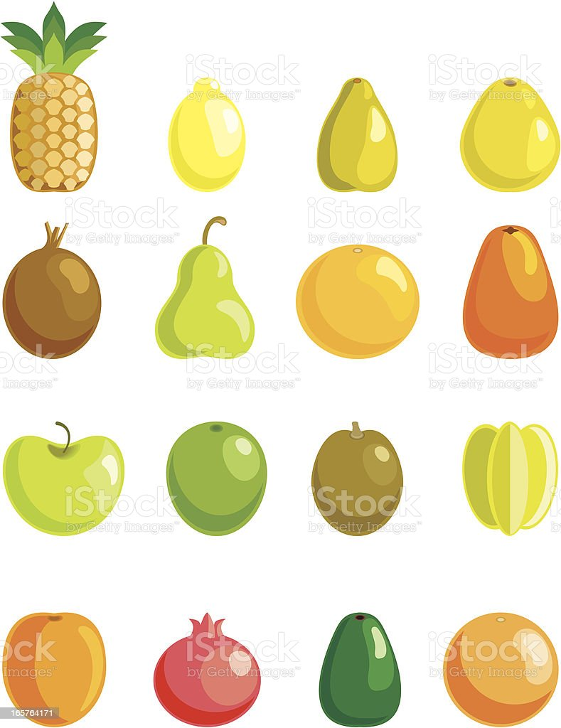 Full fruit collection vector art illustration