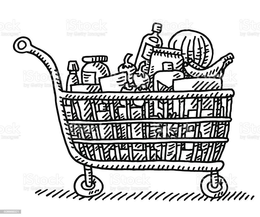 Completa la cesta de compras de comestibles y dibujo for Grocery cart coloring page