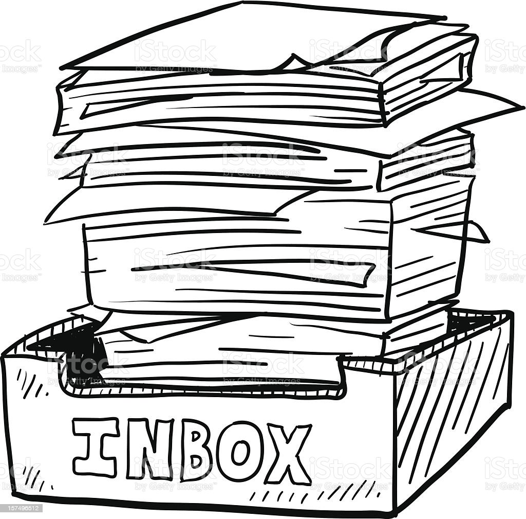 Full inbox workplace sketch royalty-free stock vector art