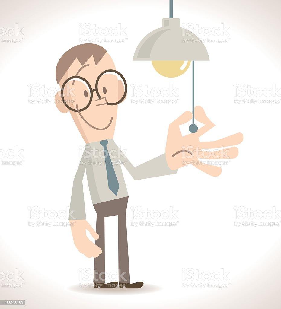 Full length Businessman turn on or off the light vector art illustration