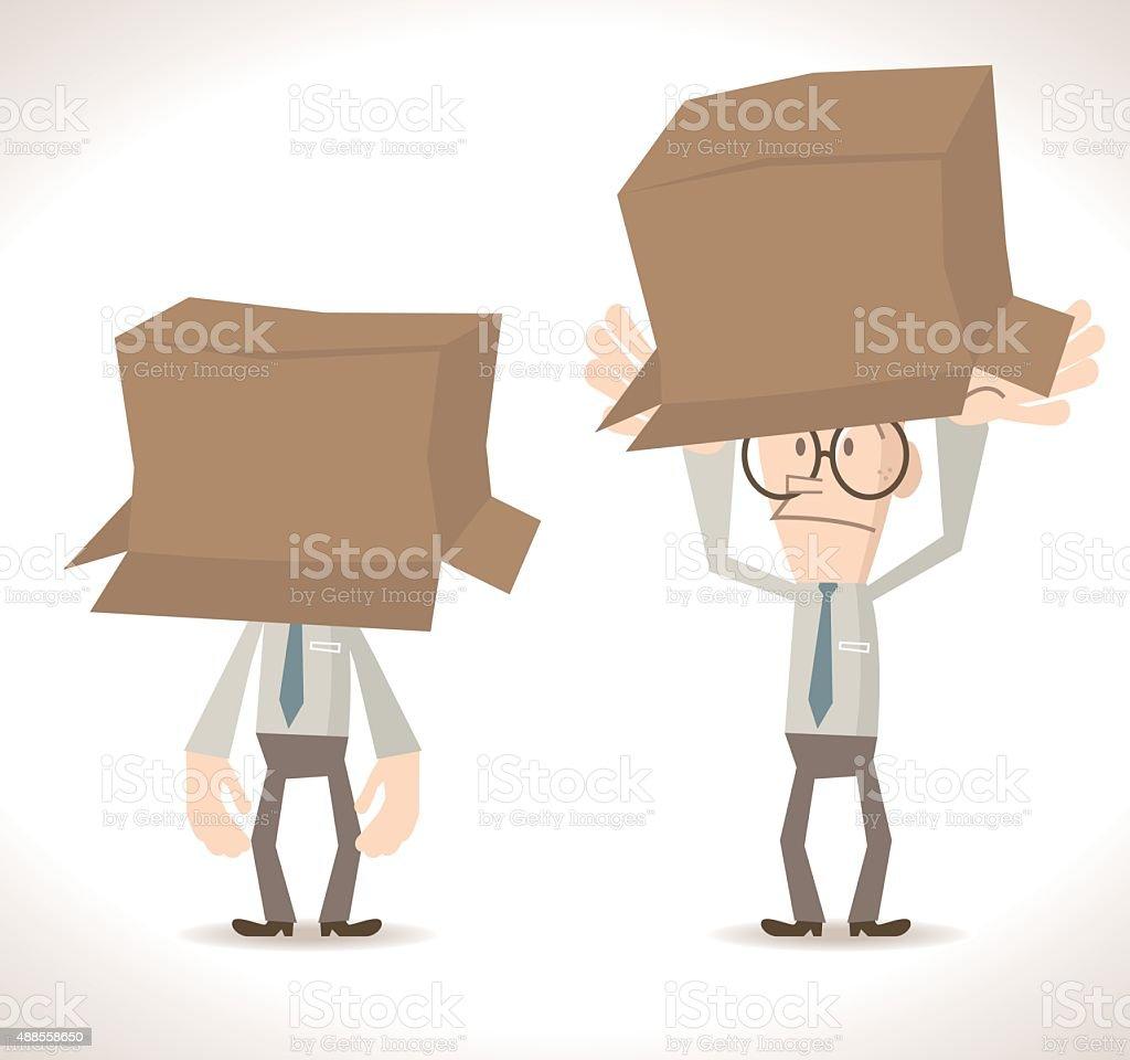 Full length businessman with Cardboard Box vector art illustration