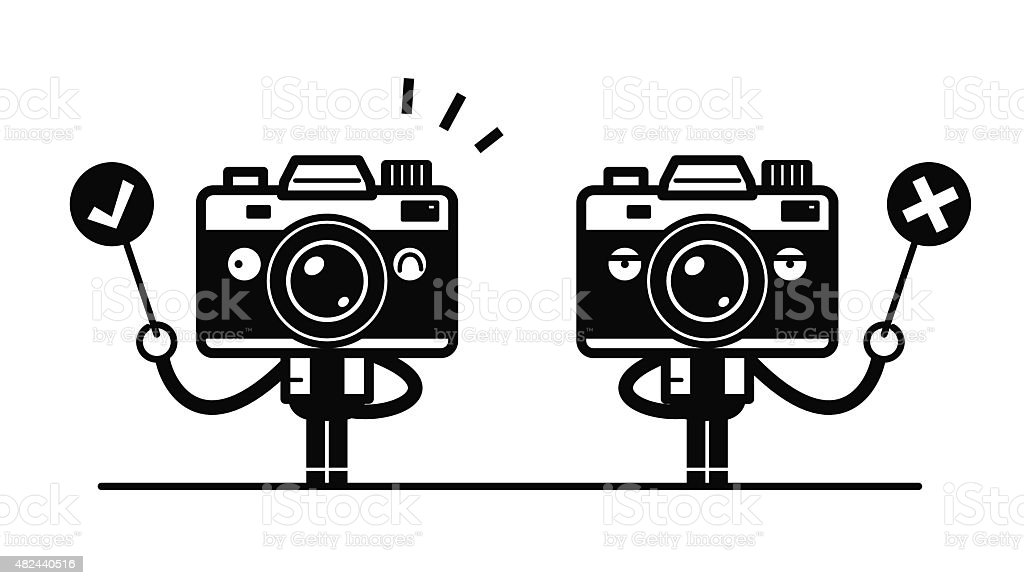 Full length Camera Character standing Holding Right and Wrong Sign vector art illustration
