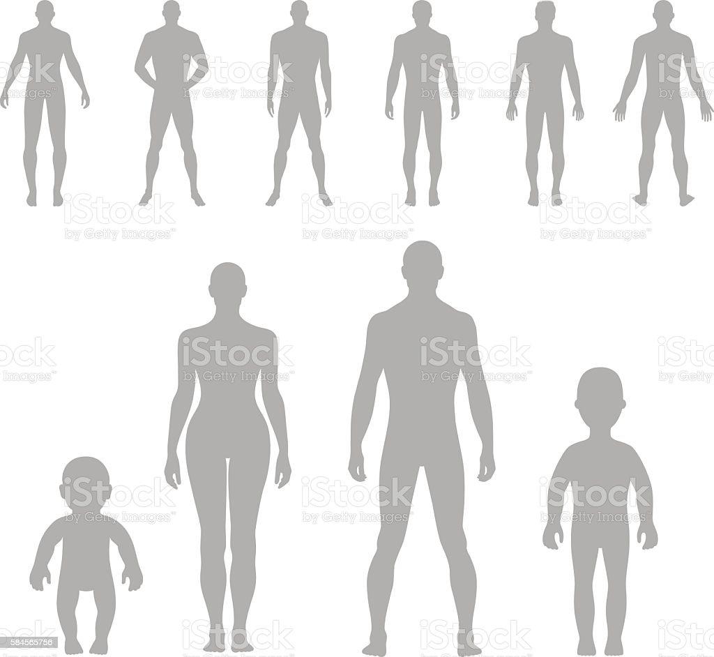 Full length front, back human silhouette set vector art illustration