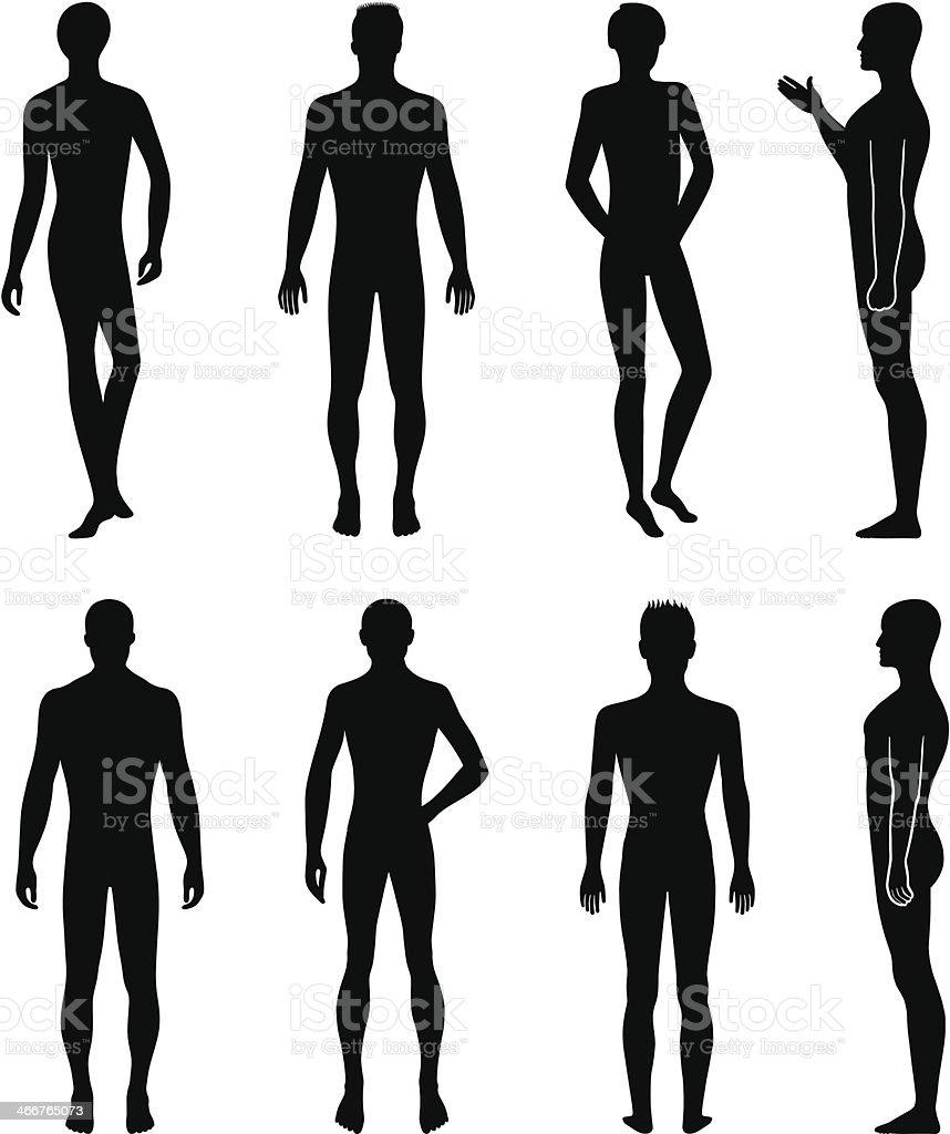 Full length front, back silhouette of man vector art illustration