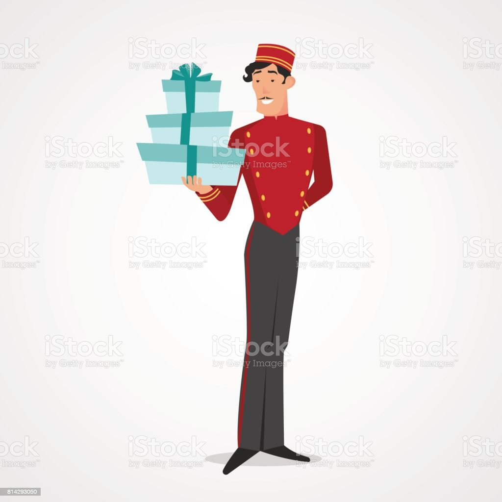 Full length male porter concierge holding stack of boxes isolated over white. Vector illustration vector art illustration