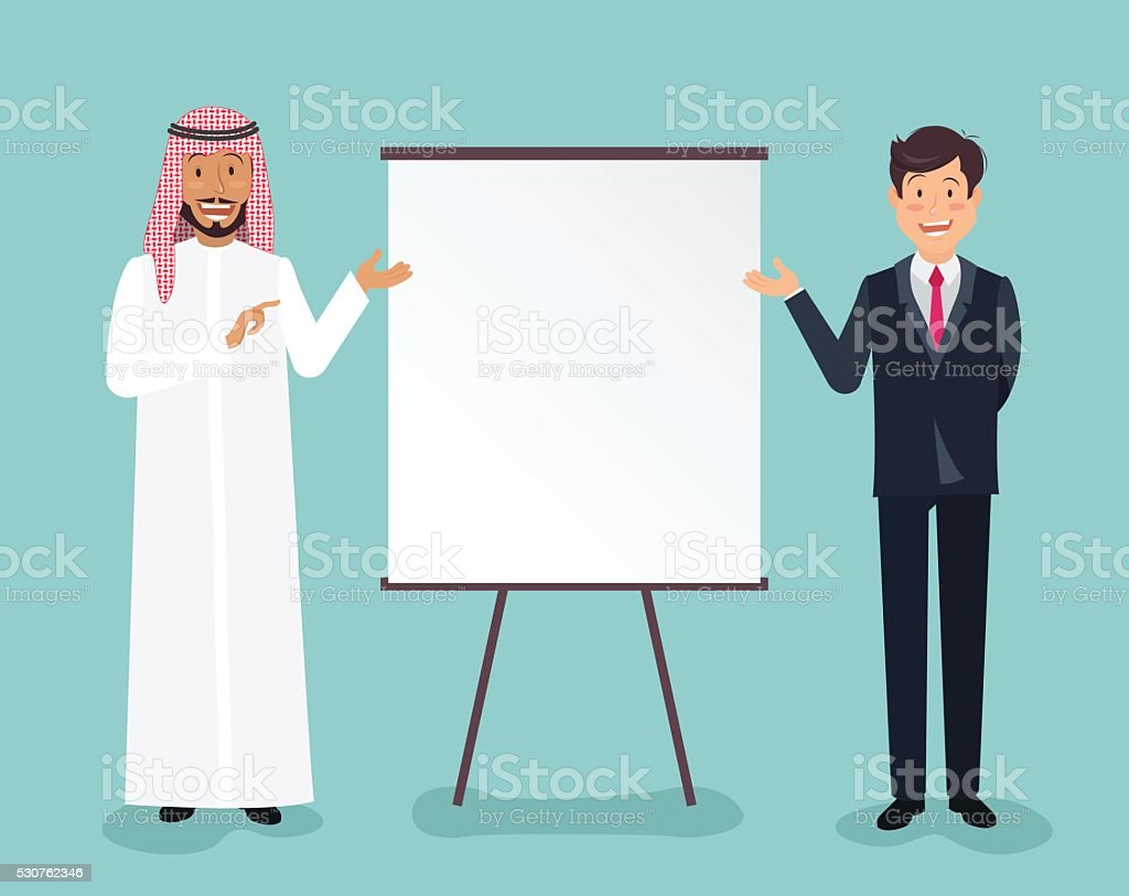 Full length portrait of a handsome arabic and european businessm vector art illustration