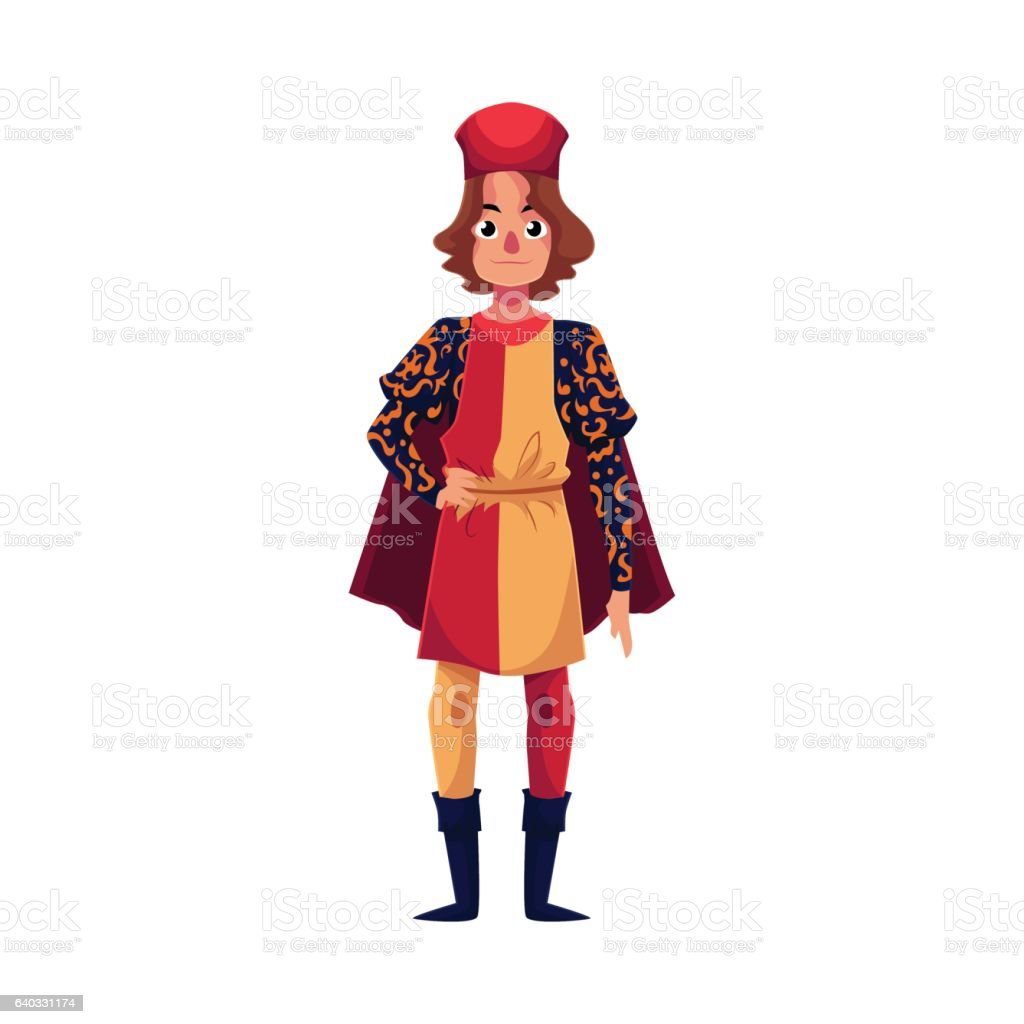 Full length portrait of Italian man in Renaissance time costume vector art illustration