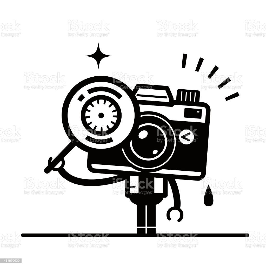 Full length unique Camera Character looking through a magnifying glass vector art illustration