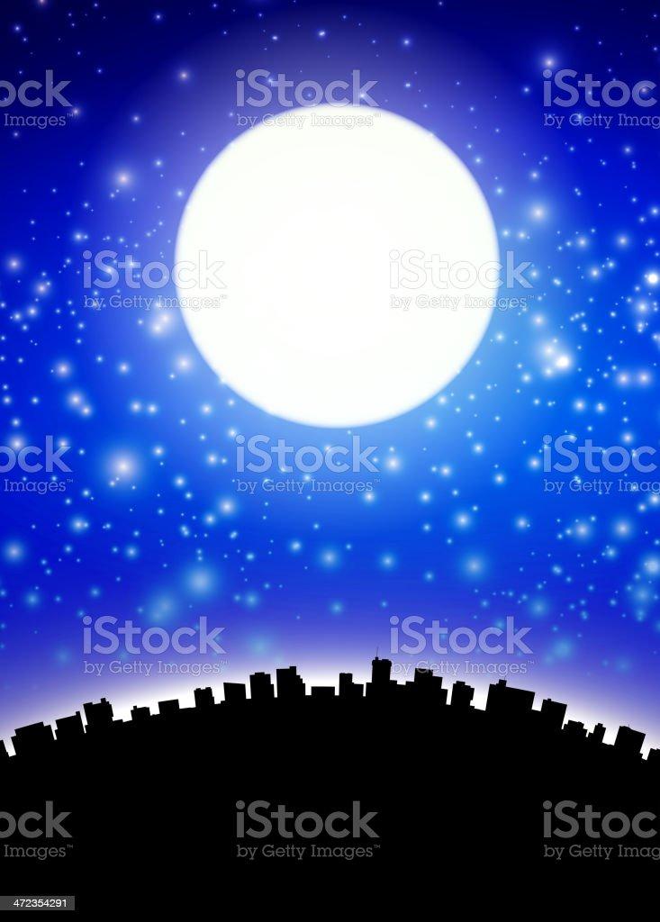 Full moon above city royalty-free stock vector art