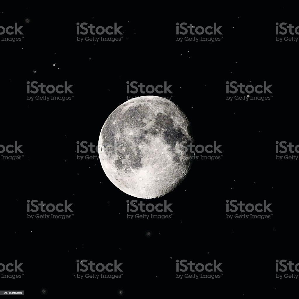 Full Moon and Stars vector art illustration
