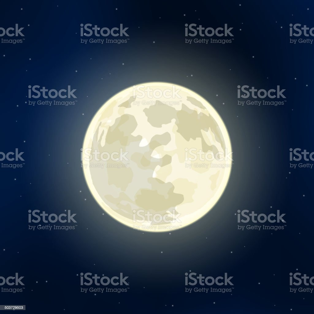 Full Moon and stars vector art illustration