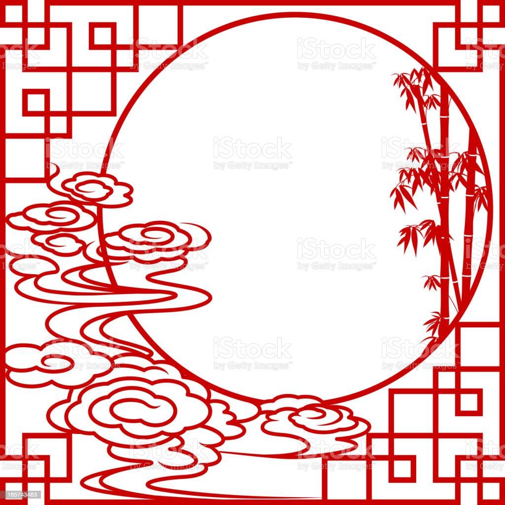 Full Moon Chinese Paper-cut Art Frame vector art illustration