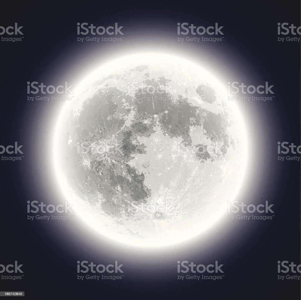 Full Moon - Hand Traced & Very Detailed royalty-free stock vector art