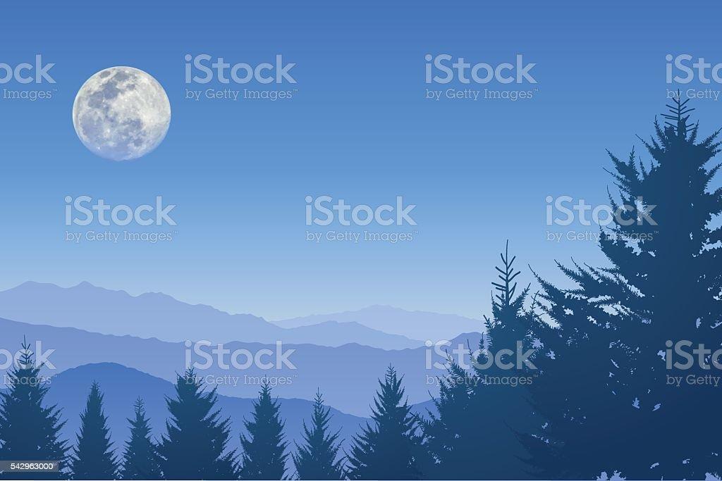 Full moon in the blue sky vector art illustration