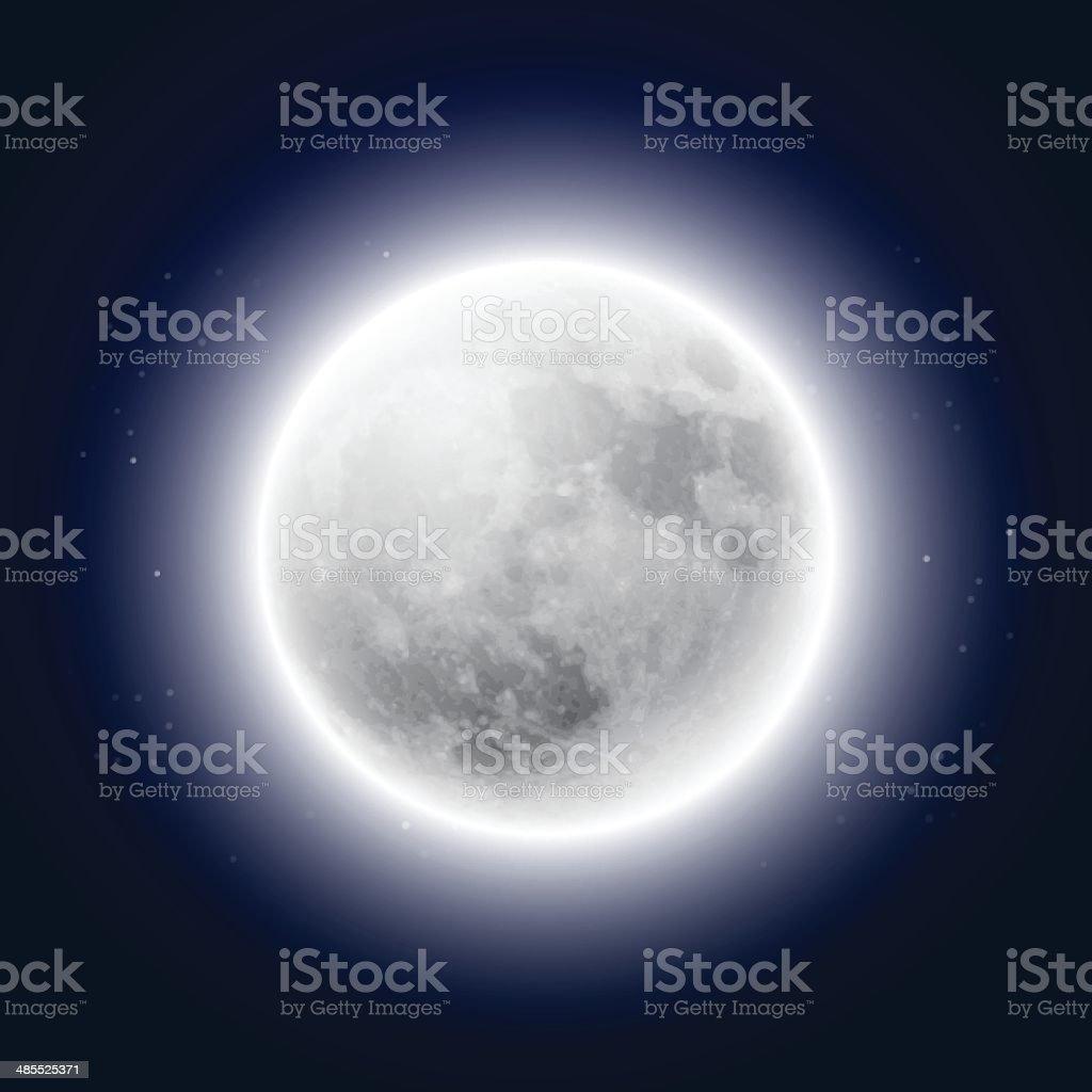 Full moon in the night sky vector art illustration