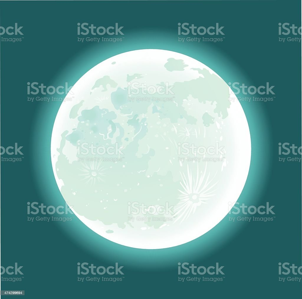 Full Moon in the Sky vector art illustration
