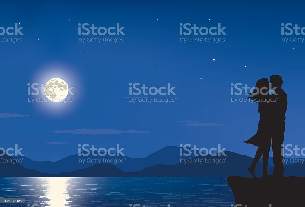 Full Moon Lovers vector art illustration