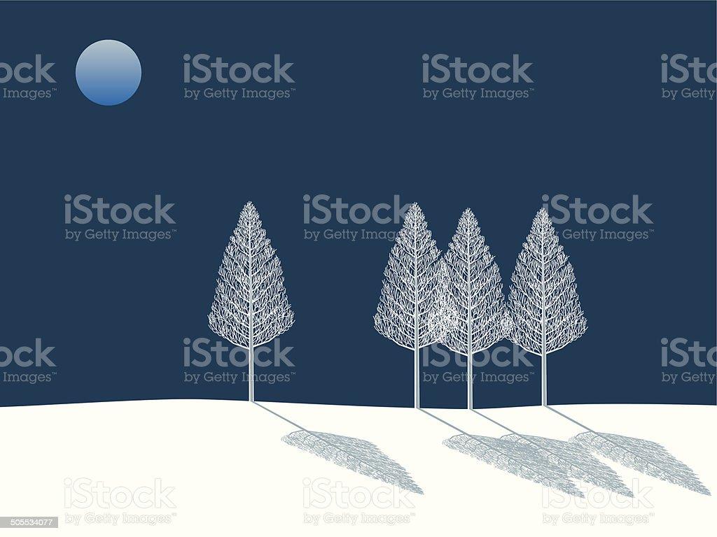 Full moon night. Tree in winter vector art illustration