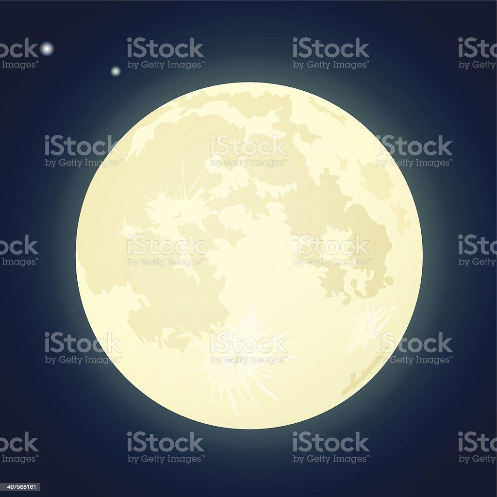Full Moon on a Dark Blue Sky. Vector Illustration vector art illustration