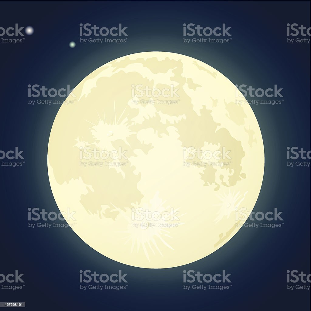 Full Moon on a Dark Blue Sky. Vector Illustration vector art illustration