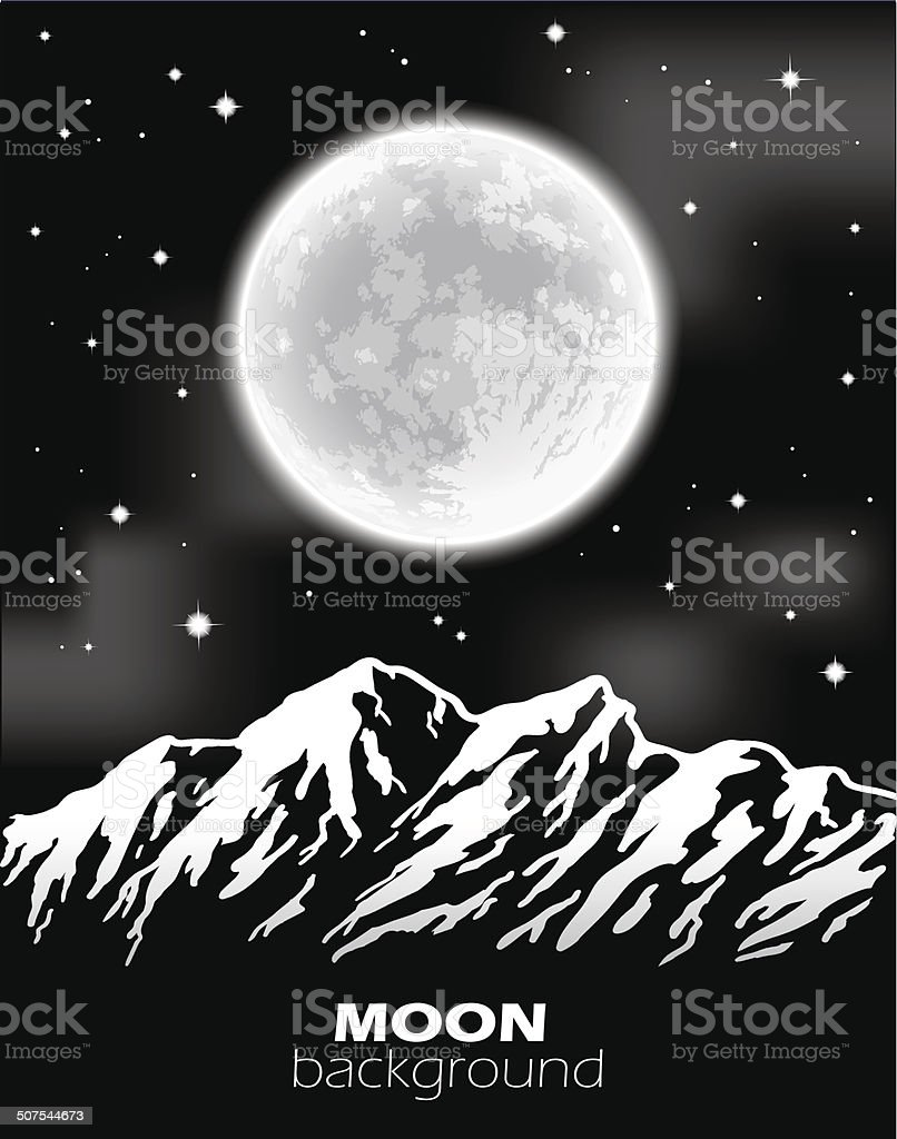 Full Moon over mountains. Night landscape. Vector illustration. vector art illustration