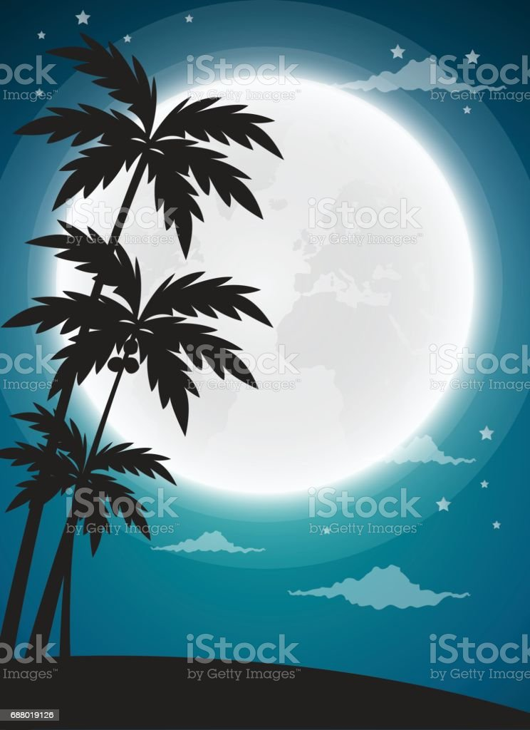Full moon twilight with dark palms silhouettes, vector background vector art illustration