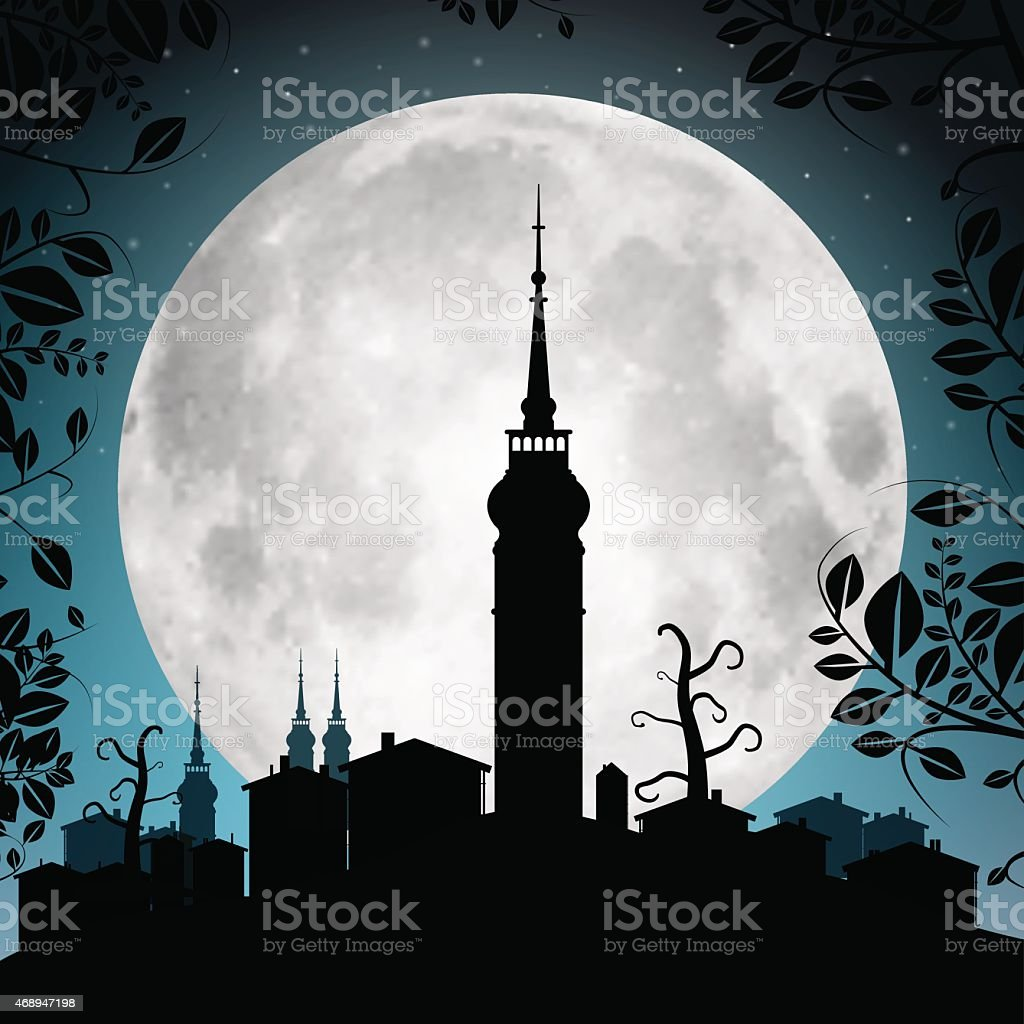 Full Moon Vector Illustration with Town Silhouette vector art illustration