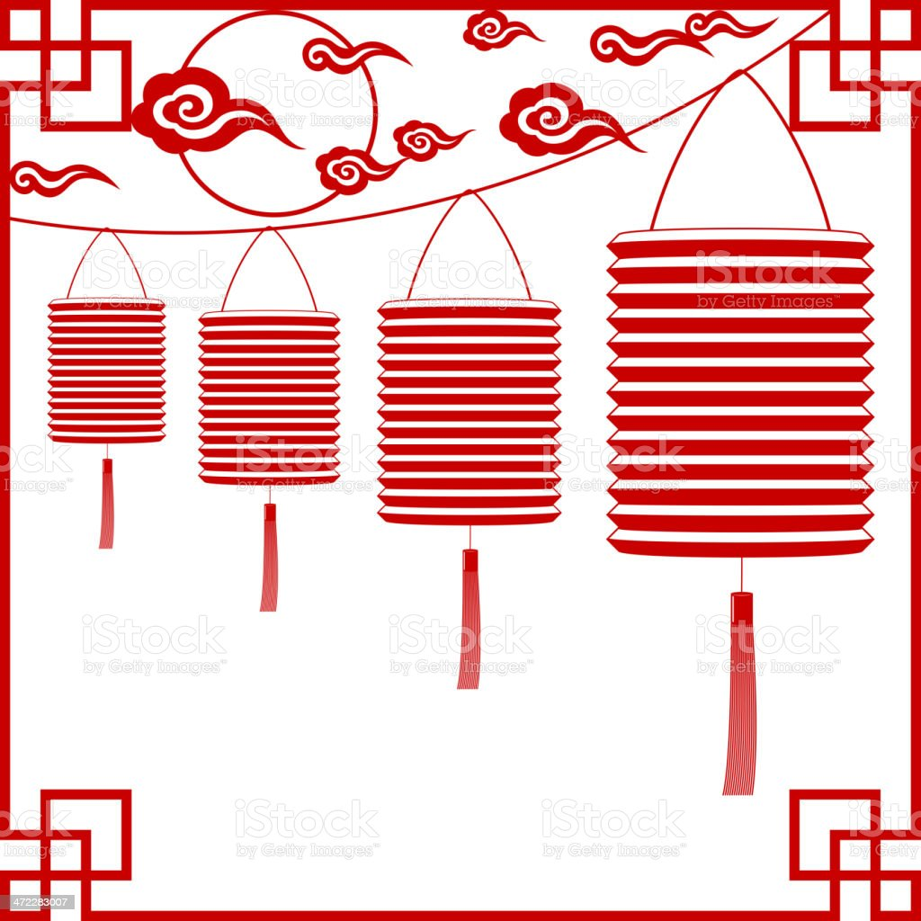 Full Moon with Chinese Lantern Paper-cut Art royalty-free stock vector art