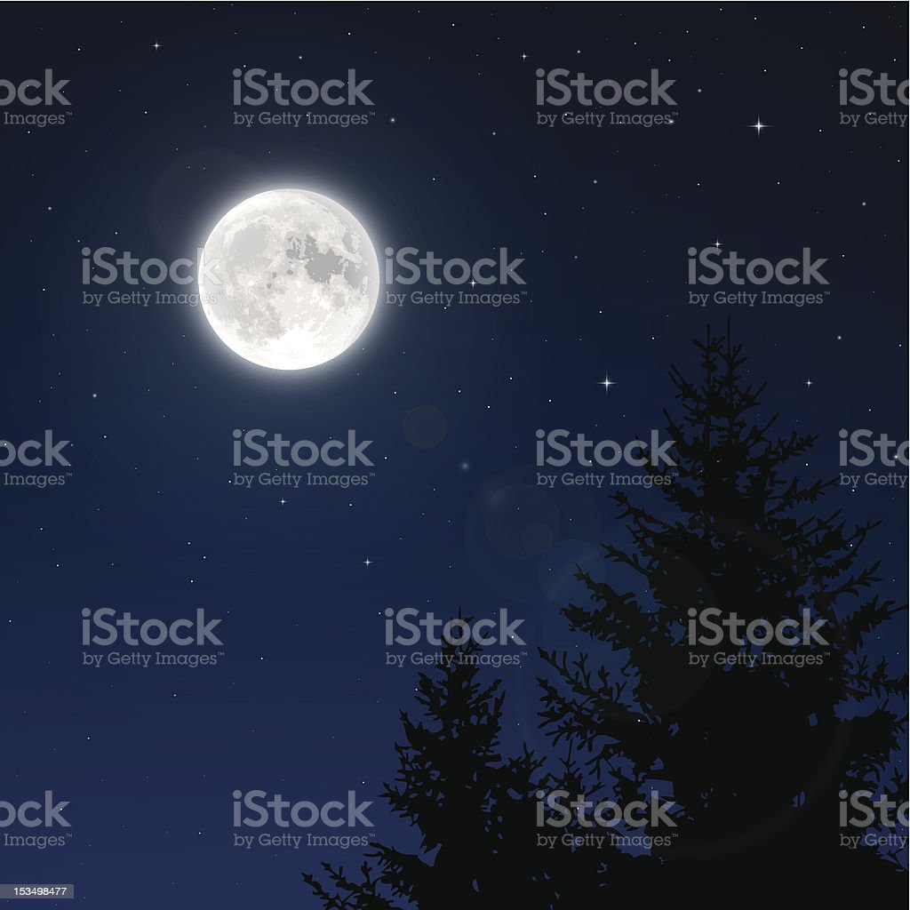 Full moon with lens flare vector art illustration