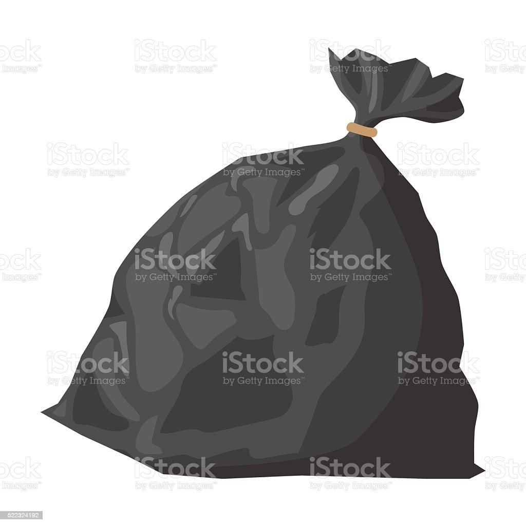 Full refuse plastic cartoon sack vector art illustration