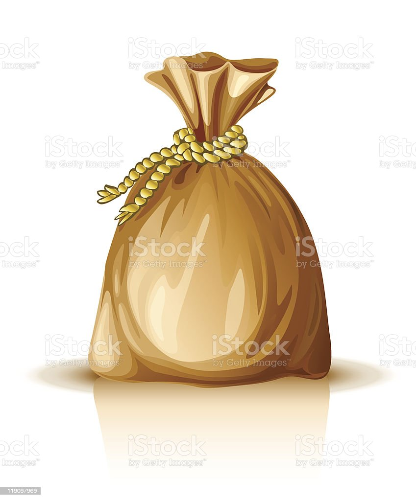 full sack tied by rope royalty-free stock vector art