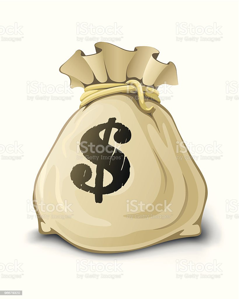 full sack with dollars isolated royalty-free stock vector art