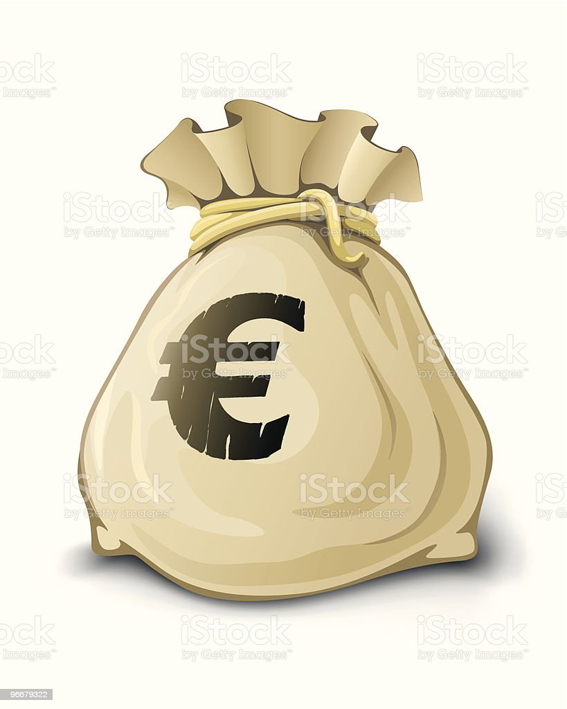 full sack with euro money isolated royalty-free stock vector art