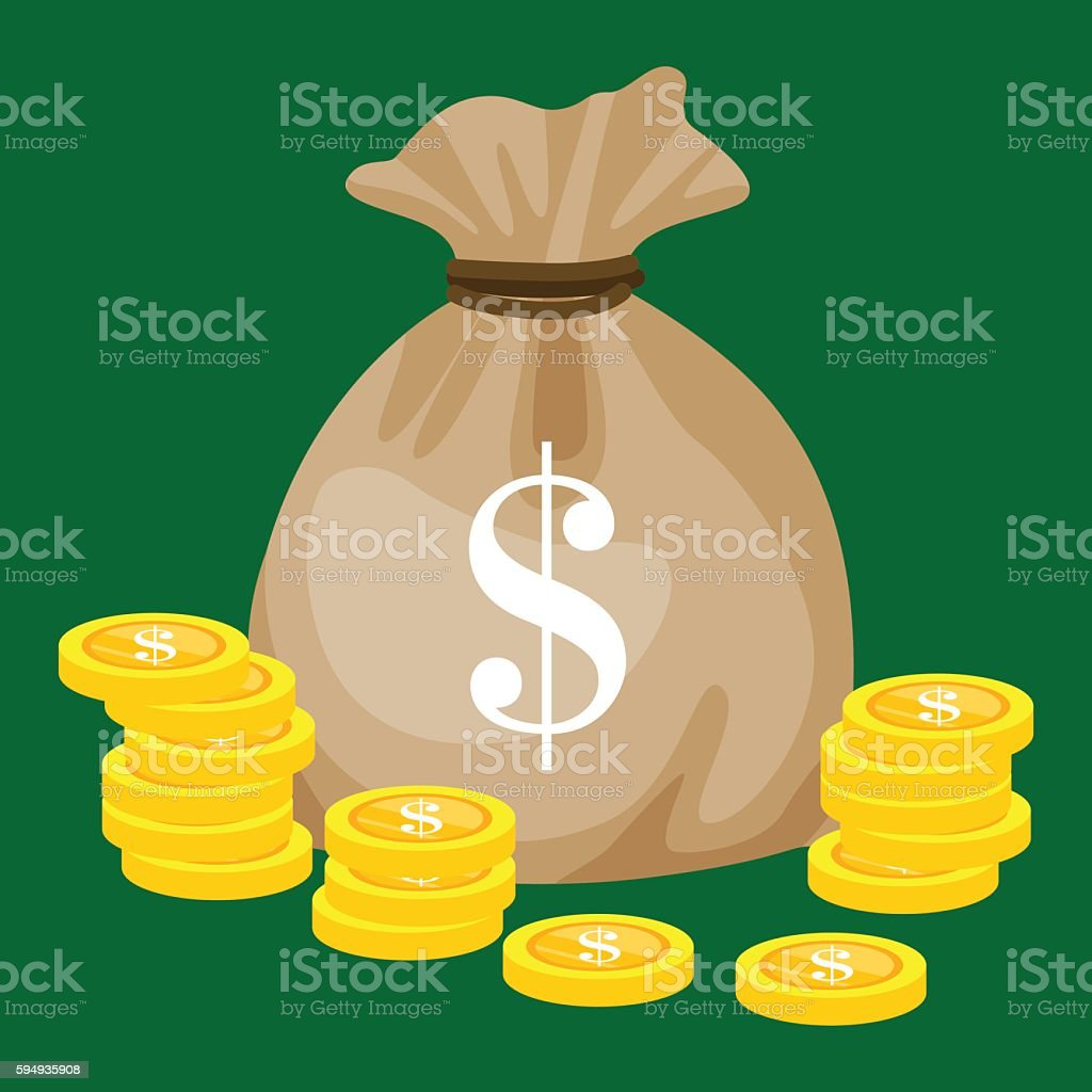 Full sack with golden money, isolated coins vector illustration. Business vector art illustration