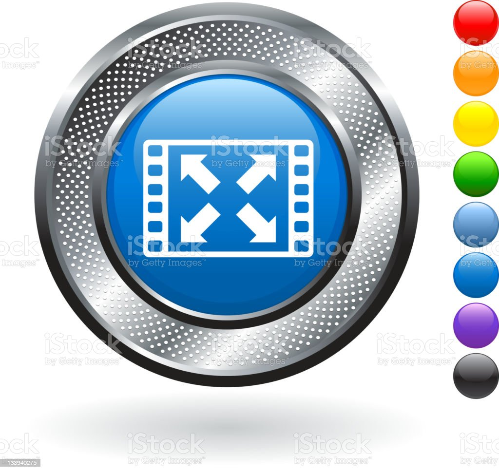full screen video royalty free vector art on metallic button royalty-free stock vector art