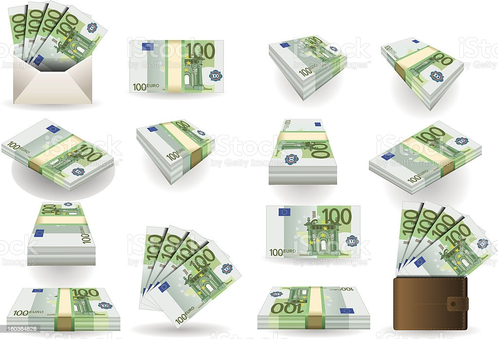full set of hundred euros banknotes vector art illustration