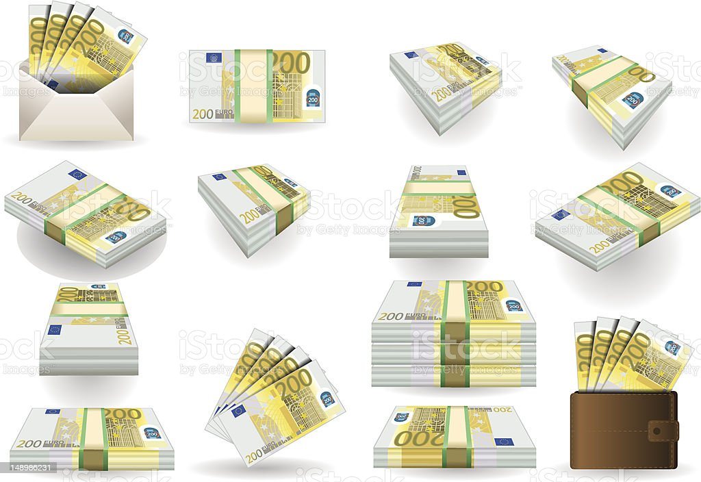 full set of two hundred euros banknotes royalty-free stock photo