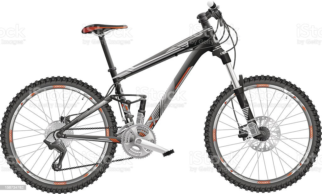 Full-suspension mountain bike royalty-free stock vector art