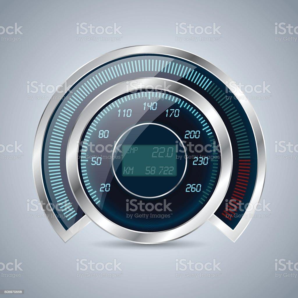 Fully digital speedometer rev counter vector art illustration