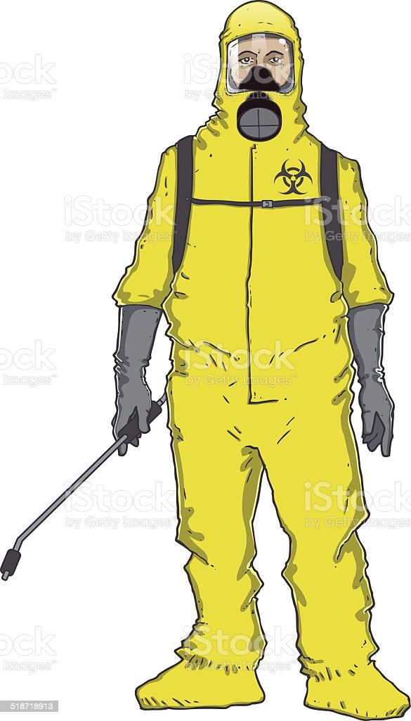 Fumigator man in protective suit vector art illustration