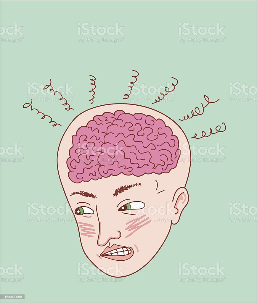Fuming Frustrated Brain royalty-free stock vector art